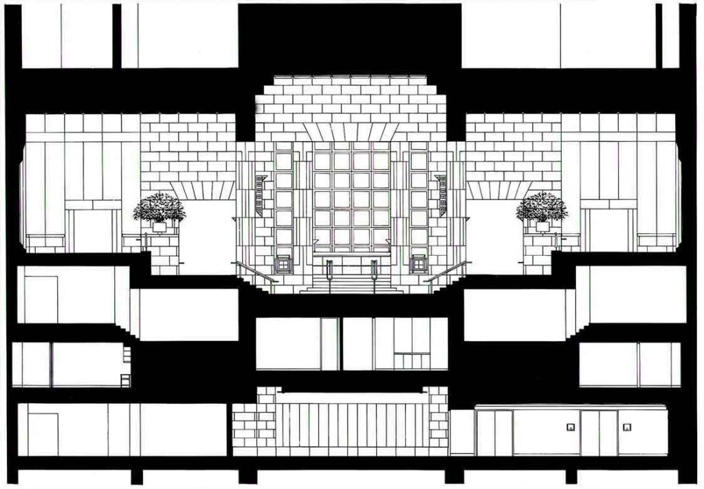 Four Seasons Hotel New York section drawing