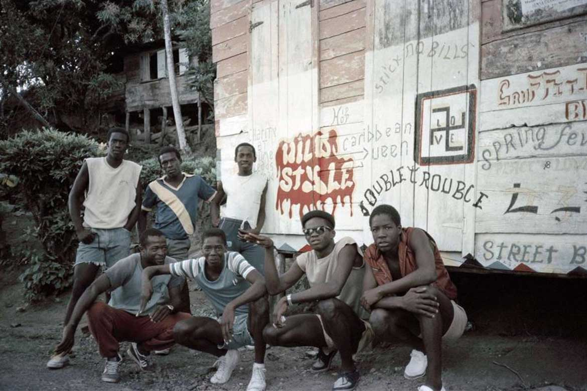Stoop Rap Double Trouble scene 1981 photo by Cathy Campbell