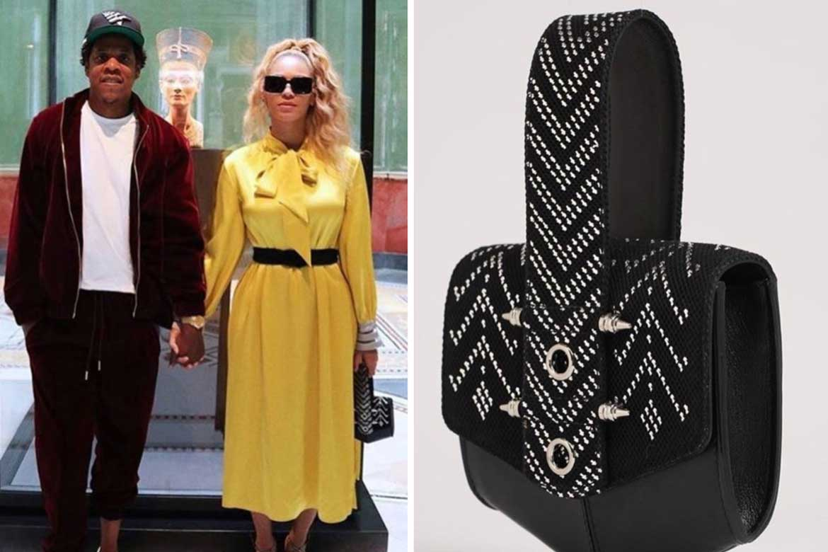 Beyonce carrying an Okhtein bag