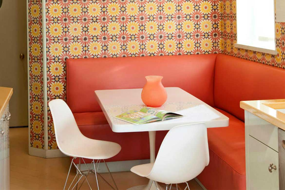 Mid-century patterned interior- Photo from Elle Decor