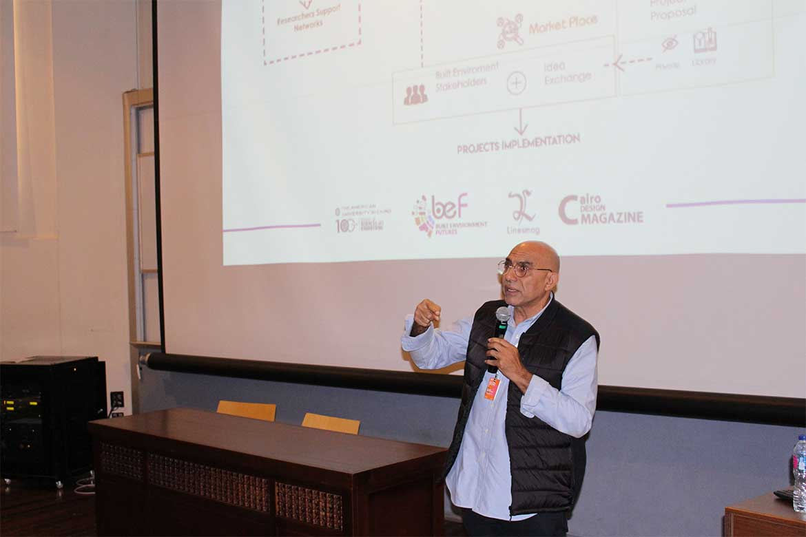 Mr. Amr Abdel Kawi introducing Built Environment Futures Event - Photo courtesy: Doha Moustafa