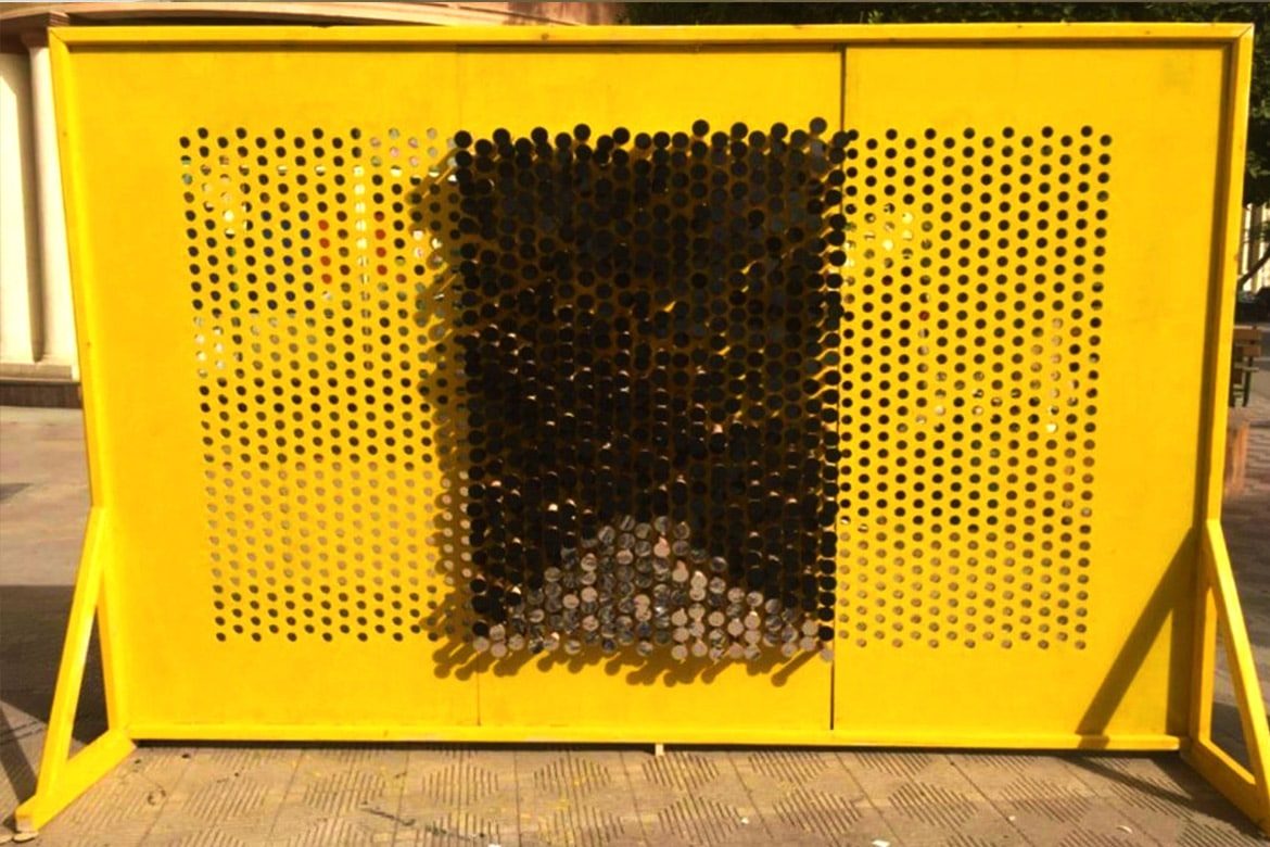 yellow pin wall design architecture creativity partition