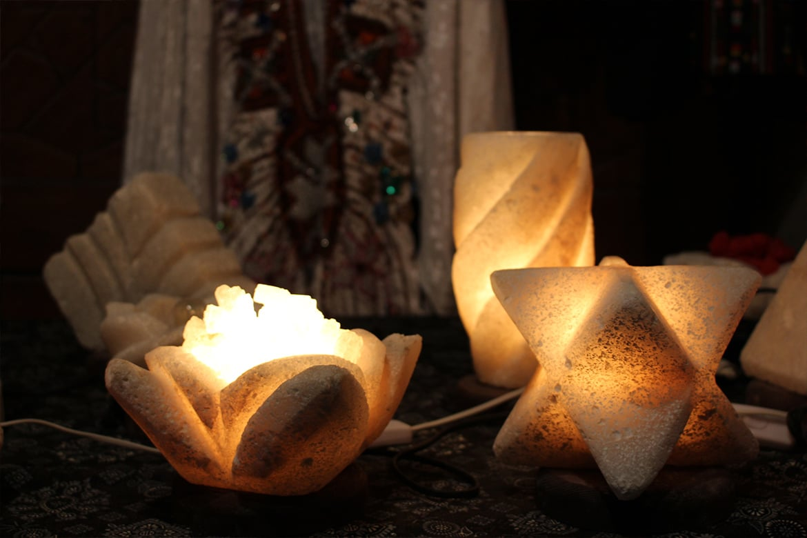 salt lamps handicrafts siwa traditional abstract geometric forms