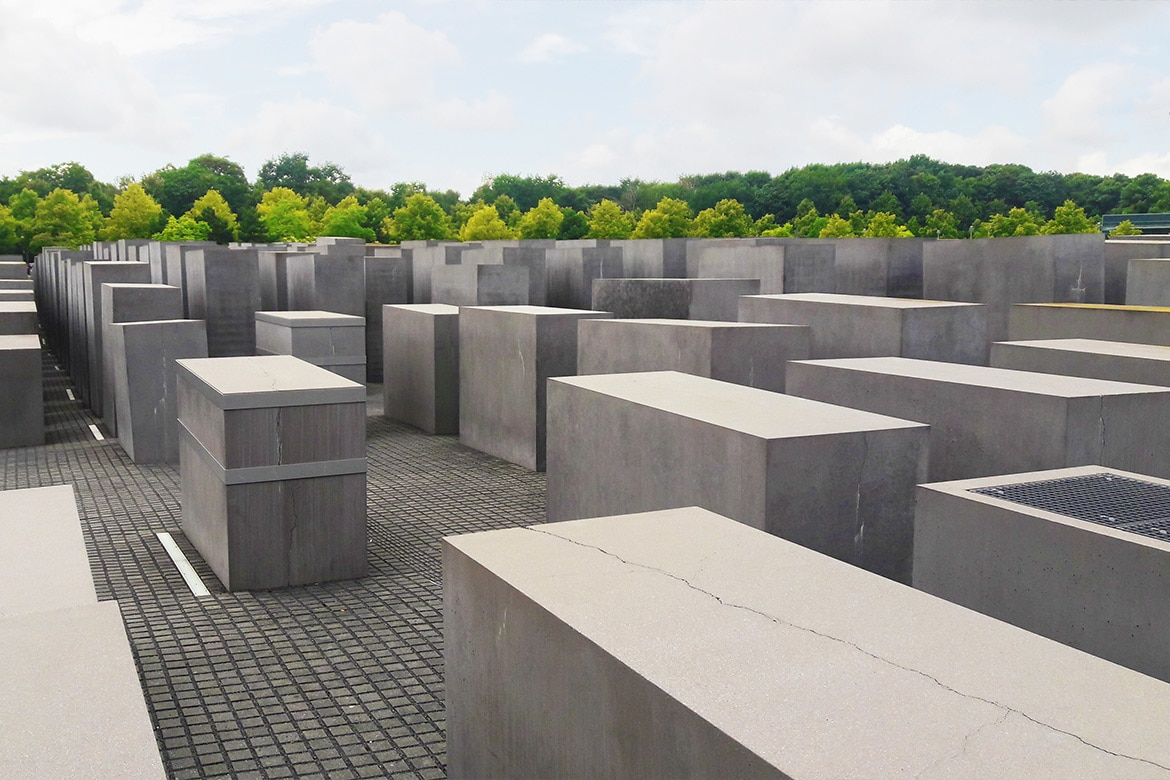 murdered jews memorial in belrin abstract concrete blocks