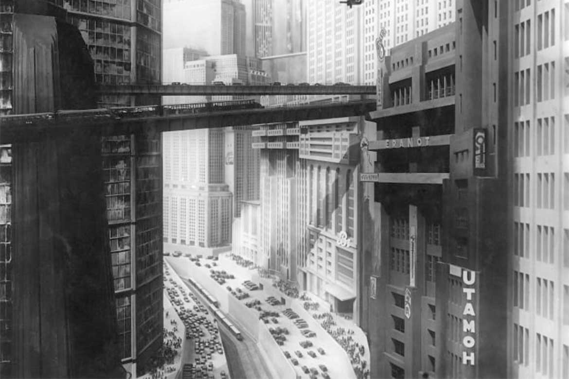 set design of skyscrapers in Fritz Lang's Metropolis (1927)