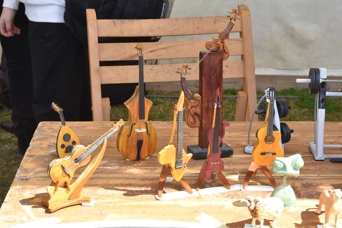 Wooden miniatures at Maker Faire event