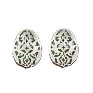 Green G Vitreous Enamel Earrings by Zeinab Khalifa