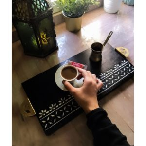 Black Moroccan Tray by Nada Talaat, shop online home accessories