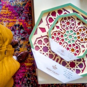 Coloured wooden tray by Nada Talaat shop unique home accessories Linesmag