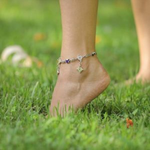 Purple & Silver Anklet by Nadine Sherif