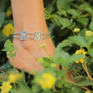 Rectangular Double Chain Anklet by Nadine Sherif