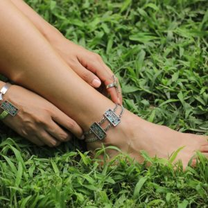 Colourful Silver Anklet by Nadine Sherif