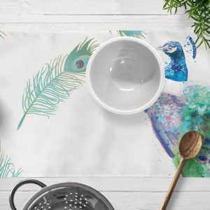 Indian Peafowl Table mat Home Textiles - Home Accessories - Egypt - Online Shopping - Designer home Decor - Linesmag Store