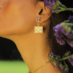 Purple Stone Gold Plated Earring