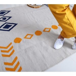 Kilim egypt by iman shihab - Pattern yellow and blue Kilim - local products - home accessories - online shopping - egypt