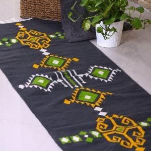 Aztec green Kilim Rug Egypt by iman shihab - local products - home accessories - online shopping - Egypt
