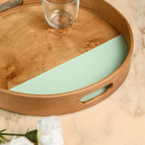 Roots RO Veneer Tray Circular Wood and mint veneer tray room no.9 home accessories - online shopping - Egypt - Linesmag