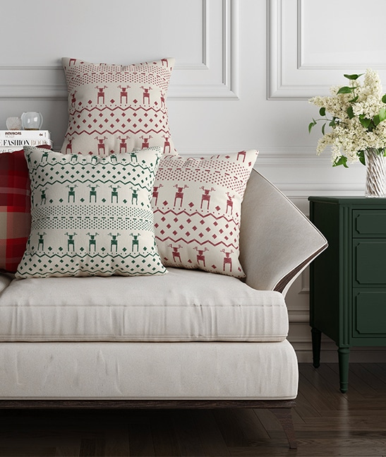 Red and green deer Christmas print cushion covers by LF Home
