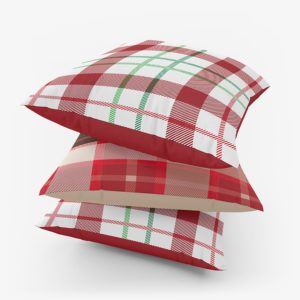 Red plaid cushion cover Christmas vibes online shopping
