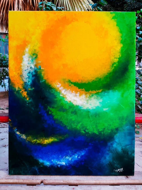 The sun painting oil on canvas by Nada Abdrabou. Shop online Art from Egypt