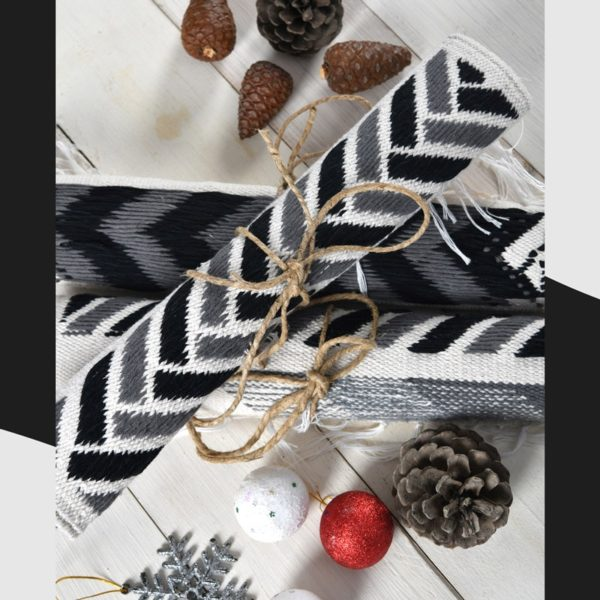 black, white and grey Table Mat Handcrafted cotton Kilim flat-woven on cotton base by Iman shihab - egypt local products local designer online shopping linesmag